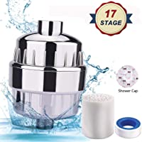 Shower Filter, 17 Stage High Output Universal Shower Water Filter, Reduce Impurities, Remove Chlorine, Fluoride, Sulfur Odor, Softens Hard Water - Boosts Hair and Skin Health [2019 Newest]