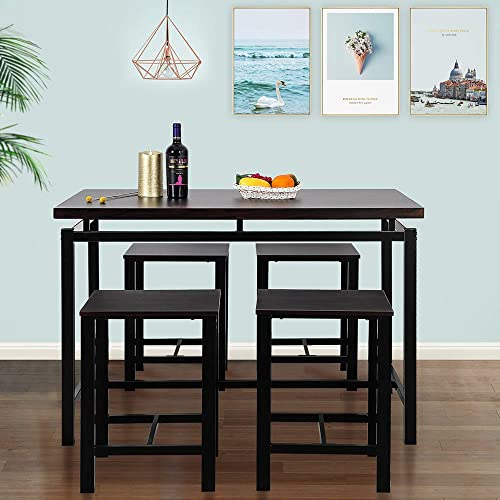 Romatpretty 5 Piece Dining Table Set, Rectangular Dining Room Table, With Vintage Wood Tabletop Kitchen Table 4 Chairs with Metal Frame, For Living Room Kitchen Any Interior