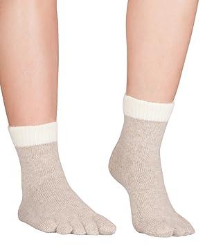 Knitido Naturals - Calcetines de interior de cinco dedos, Angora, mixto adultos, Angora toe socks soft, Beige (007), 35-38: Amazon.es: Deportes y aire libre