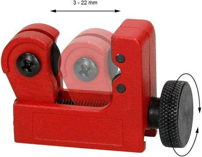 ECD Germany Mini Tagliatubi Antiscivolo con Rotella Zigrinata con Fornitura in Metallo 3-22 mm