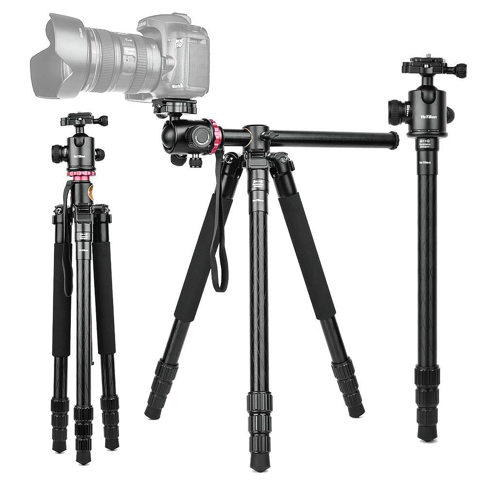 360°Horizontal Rotation Professional Travel Camera Tripod, Portable Projector Stand with 360°Panorama Ball Head,1/4'' Quick Release Plate and Bubble Level for Canon Nikon Sony Olympus Fuji Projector D by YoTilon
