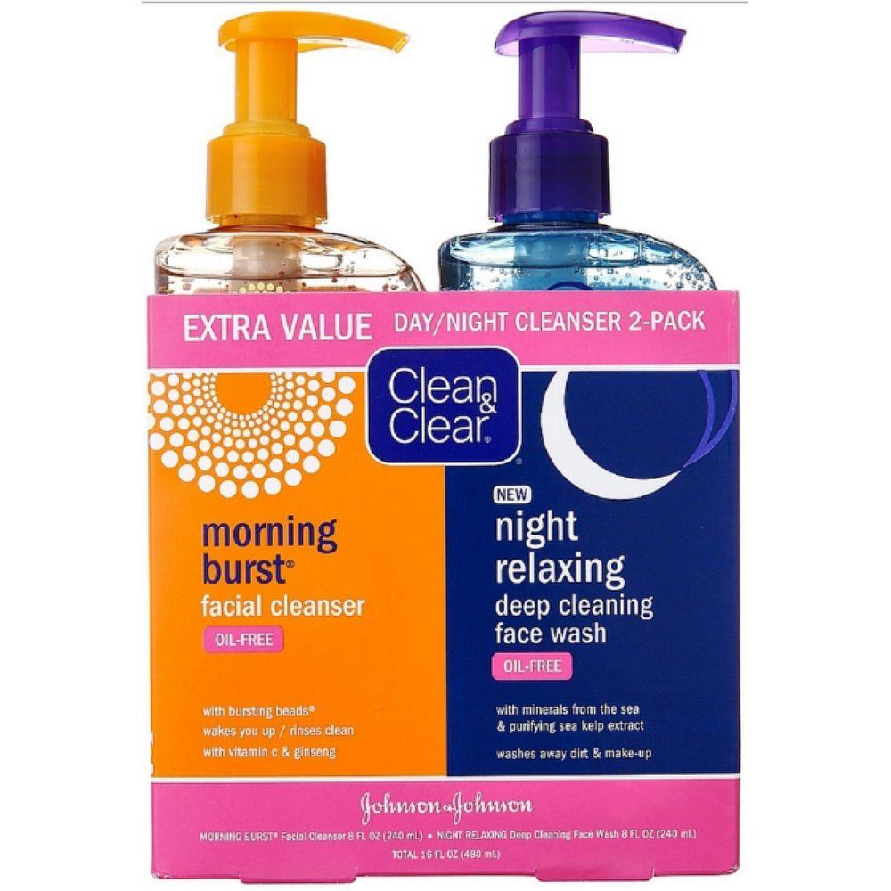 Clean   Clear 2-Pack Day and Night Face Cleanser Citrus Morning Burst Facial Cleanser with Vitamin C and Cucumber  Relaxing Night Facial Cleanser with Sea Minerals  Oil Free   Hypoallergenic Face Wash