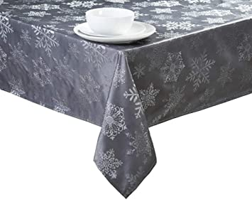 Christmas Grey Metallic Snowflakes Fabric Tablecloth (60 X 84  Rectangle/Oblong)