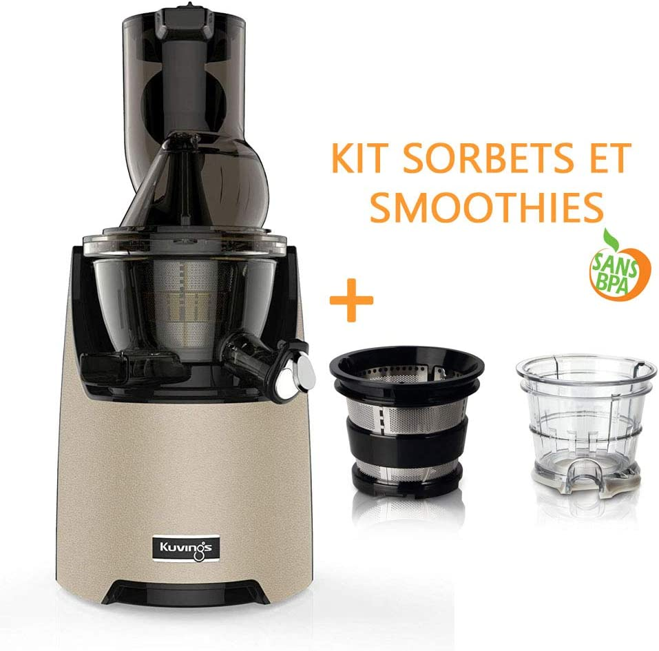Pack extractor Kuvings EVO820 champán + Kit de sorbetes y Smoothies