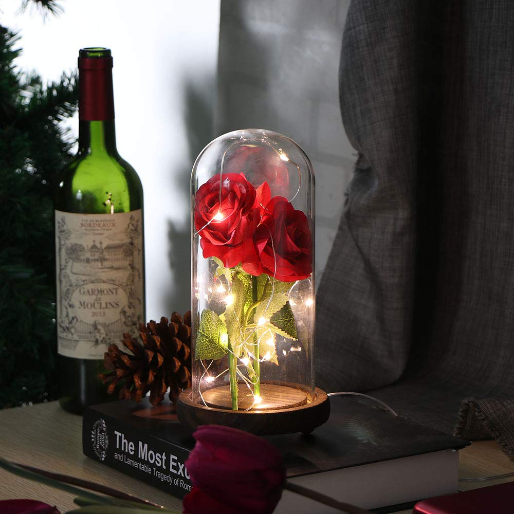 Bateria Cargada ALLOMN Rose Brillo de Seda Artificial Rosa con Pantalla de Cristal Tira de 20 LED Blanco C/álido Gran Regalo para el D/ía de San Valent/ín D/ía de la Madre Cumplea/ños de Navidad