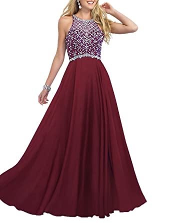 Amazon.com: Firose Women\'s Scoop Neckline Beaded Long Chiffon Prom ...