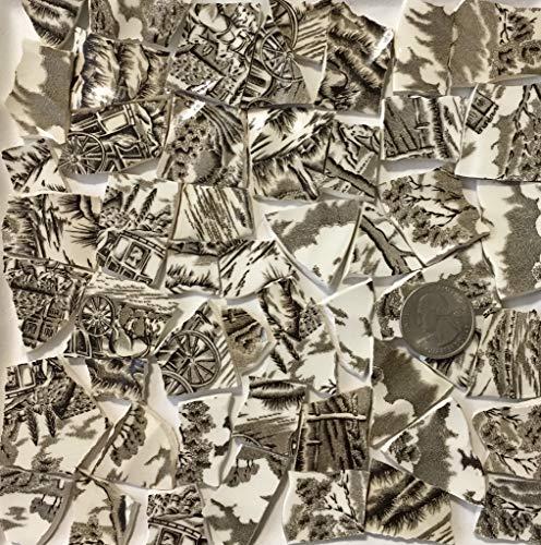 Mosaic Art & Crafts Supply ~ Brown & White Classic Transferware Tiles (B815)