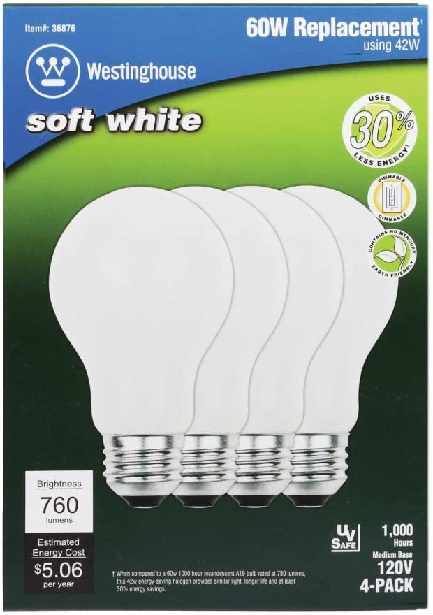 Westinghouse Lighting 3687300 53 Watt A19 Eco-Halogen Soft White Light Bulb with Medium Base 4-Pack