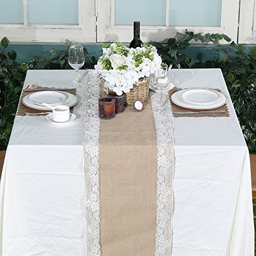 PartyDelight Burlap Table Runner Rustic Lace Natural High Density, 14