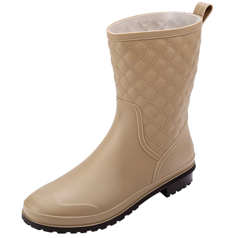 17KM Womens Black Short Anti Slip Rain Boots Mid-Calf Waterproof Rubber Rain Shoes (5 US, Khaki)