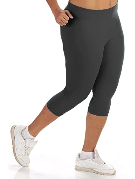 5bbb18af04 Women's Plus Size Cotton Solid Capri Leggings (1X to 5X) at Amazon ...