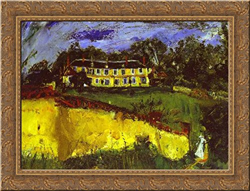 Old House near Chartres 24x18 Gold Ornate Wood Framed Canvas Art by Chaim Soutine ()