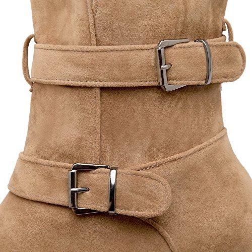 AllhqFashion Mujer Puntera Redonda Mini Tacón Sólido Gamuza(Imitado) Botas Camello-Hebilla