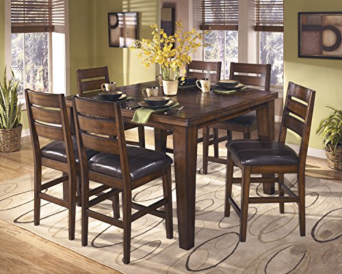 Lairecmont Casual Burnished Dark Brown Color Counter Butterfly Table Set, Table, 6 Barstools