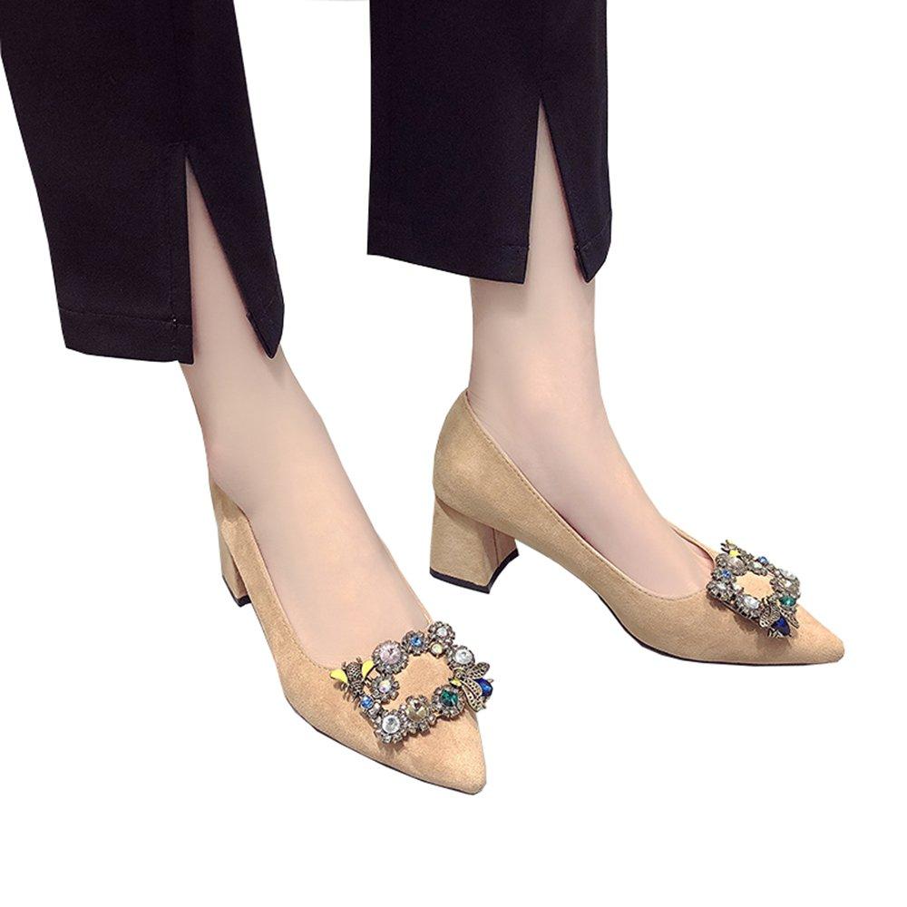 Schuhe 6cm koreanische spitzer Frühling Schnalle flacher Mund Strass mit (Farbe Absätzen in High Heels (Farbe mit   Khaki 6cm größe   35) 93649d