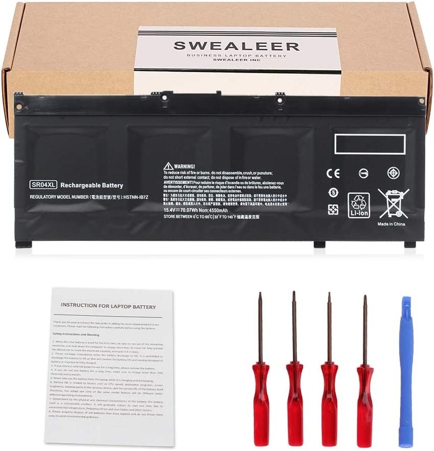 SWEALEER SR04XL New Laptop Battery Compatible with HP Omen 15-ce000 15-ce000ng 15-ce002n Pavilion Power 15t-cb2000 917678-1B1 917724-855 TPN-Q193 HSTNN-IB7Z [Li-ion 4 Cell 15.4V 70.07Wh SR04XL]