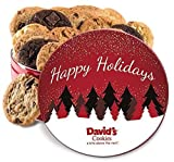 David's Cookies — Assorted Fresh-Baked Happy Holiday Cookie Gift Tin — Contains 24 Fresh Cookies — No Added Preservatives — All-Natural Cookies — 2 lb. Gift Tin