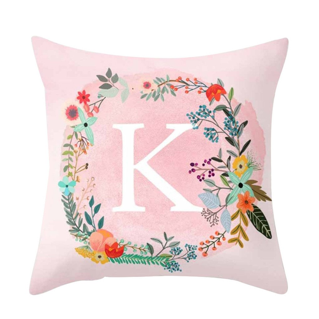 Homeofying Pink Letters Pattern Throw Pillow Case Sofa Bed Home Car Decor Cushion Cover size S