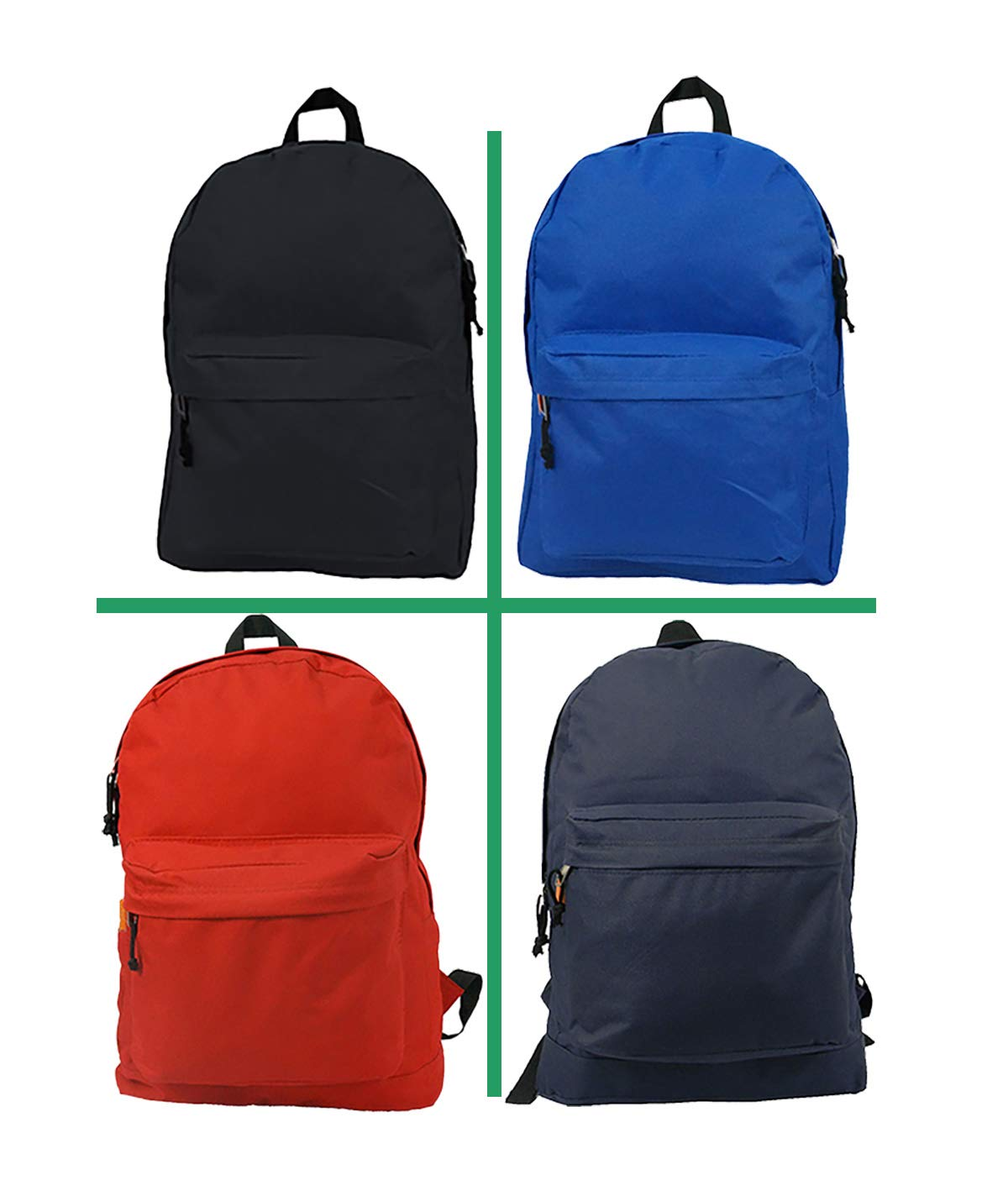 Wholesale Classic Backpack 18 inch Basic Bookbag Padded Back Bulk Cheap Simple Schoolbag Promotional Backpacks Low Price Non Profit Giveaway Student School Daypack 4 Assort Color Case Lot 30pcs