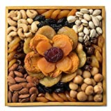Benevelo Gifts Gourmet Dried Fruit & Nut Gift Platter in Mosaic Flower Arrangement incl. Nectarines, Plums, Cashews & More - On Gorgeous Reusable Wooden Display Tray - Nutritious & Delicious Gift Idea