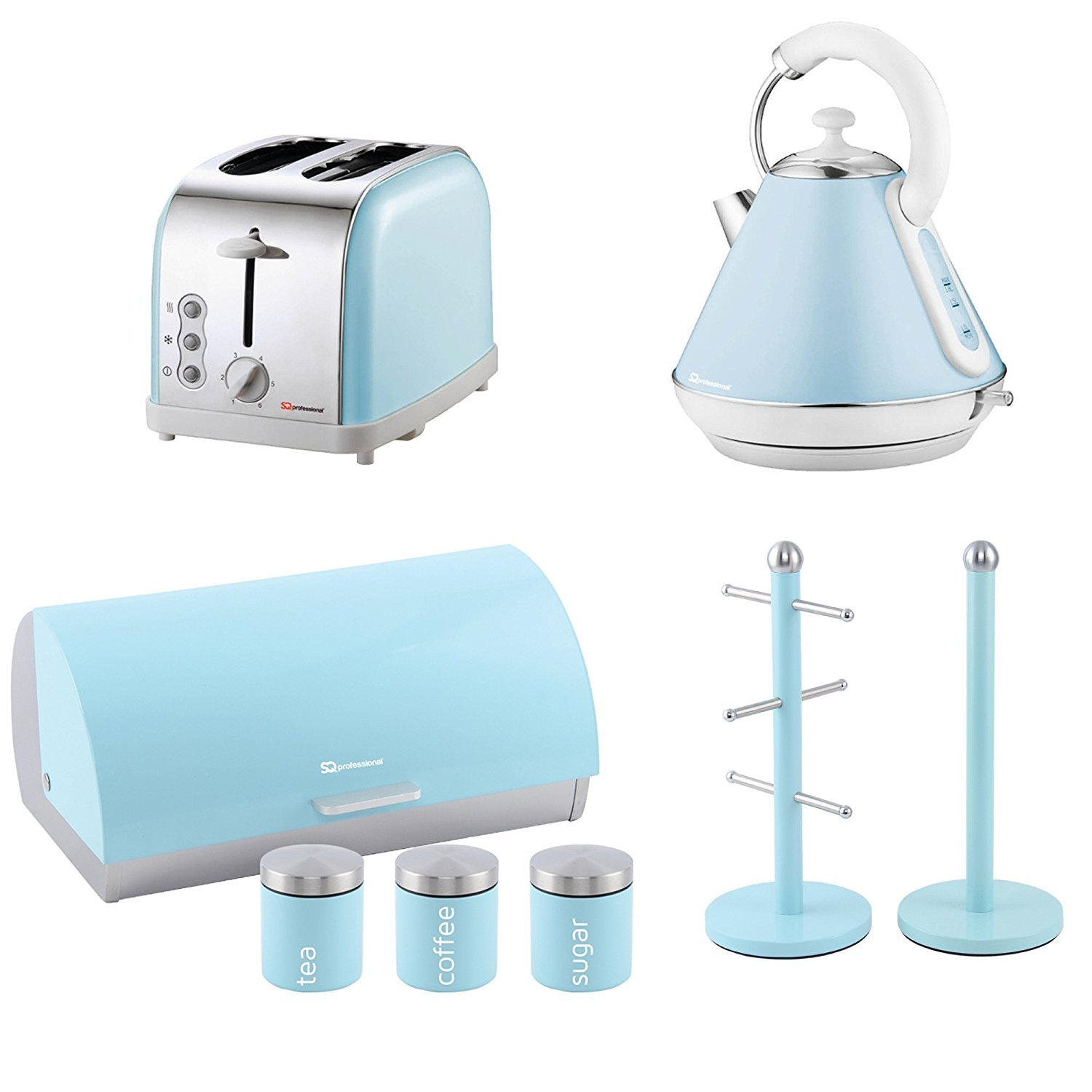 Matching Kitchen Set of Four items: Toaster, Kettle, Bread bin and canisters and Mug Tree and Kitchen Roll Holder Stand Set in Light Blue, Pink or Mint Green (Light Blue) SQ Professional