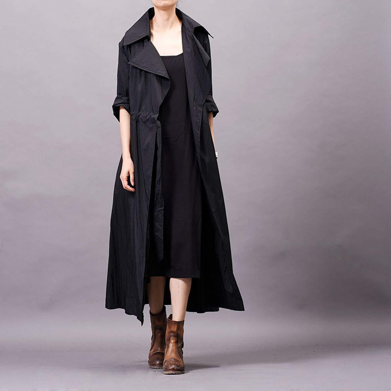 jhdnhse Autumn Winter Large Size Womens Lapel Collar Tie Coat Drawstring Trench Coat Women Raincoat