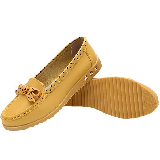 MatchLife Damen Vintage Leder Flach Pumpe Casual Schuhe Style5 Gelb EU35/ CH36: Amazon.de: Schuhe & Handtaschen