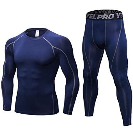 Shengwan 2 Pcs Ensemble de Sport Homme T-Shirt de Sport Compression+Running  Leggings Collant Sport 25fb9e22e73