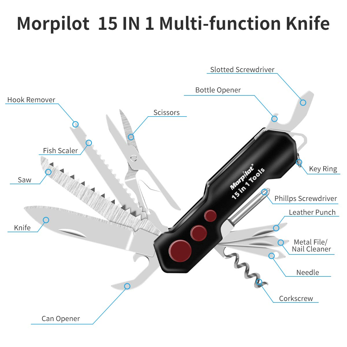 Knife and Flashlight Set, Morpilot, Multifunctional Knife 15 IN 1, LED Flashlight with 5 Modes 400LM, IPX4 Waterproof, Pocket Knife and Flashlight Set for Camping and March.