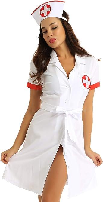 MSemis Disfraz Enfermera para Mujer Sexy Uniforme Bata Laboratorio ...