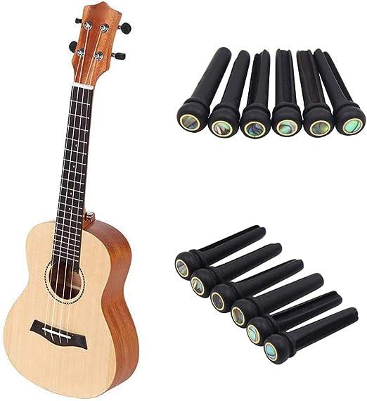 Milnnare 6Pcs Guitarra Folk Circle Ebony Cone Shell Clavijas De ...