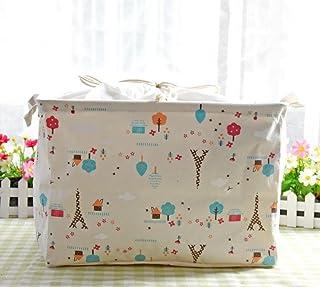Celendi Cotton Waterproof PE Storage Bag Coating Sundries Toy Basket Folding Square Sack