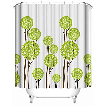 Custom Shower Curtain Abstract Cartoon Bright Green Trees White Simple Fashion Waterproof Anti Mildew Fabric Polyester