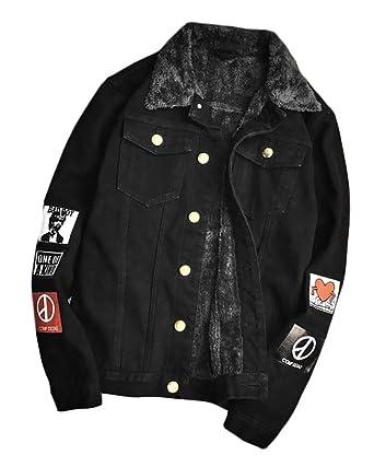 Xtx Men S Thicken Warm Fur Lined Badge Denim Jacket Coats Outwear At
