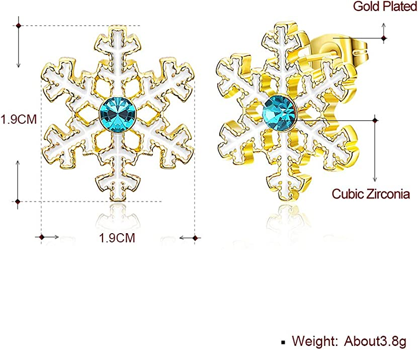 Houlife 1 Pair Christmas Stud Earrings Alloy Santa Claus Deer Shape Ear Studs CZ Inlaid for Women Girls Kids