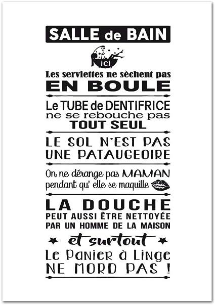 Poster Papier Les Règles De La Salle De Bains Version Noir Et Blanc Dimensions 40 X 50 Cm Papier Brillant Non Adhésif Amazon Fr Cuisine Maison