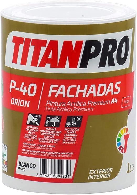 Pintura acrílica Premium A4 Blanco P40 Titan Pro - Mate, 1 L ...