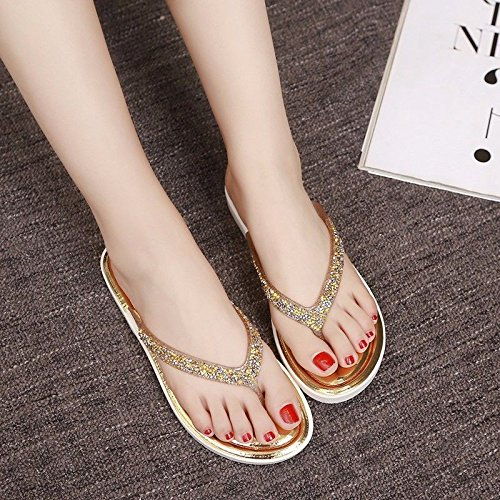 British fashion cold Korean XZ flip wear version women's ladies shoes foot of flops Golden Summer slippers LIUXINDA drag fashion flat slippers 0n5vxwqaaC
