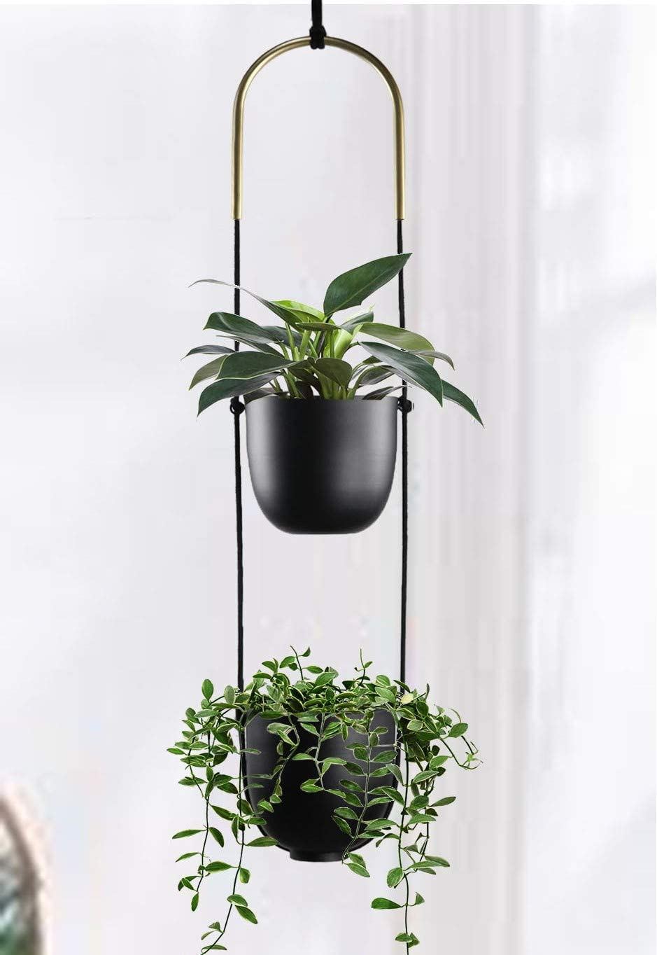 Abetree Modern Metal Hanging Planter for Indoor Outdoor Plants with Hook 2 Tier Boho Wall and Celling Flower Pot Plant Holder Home Decor