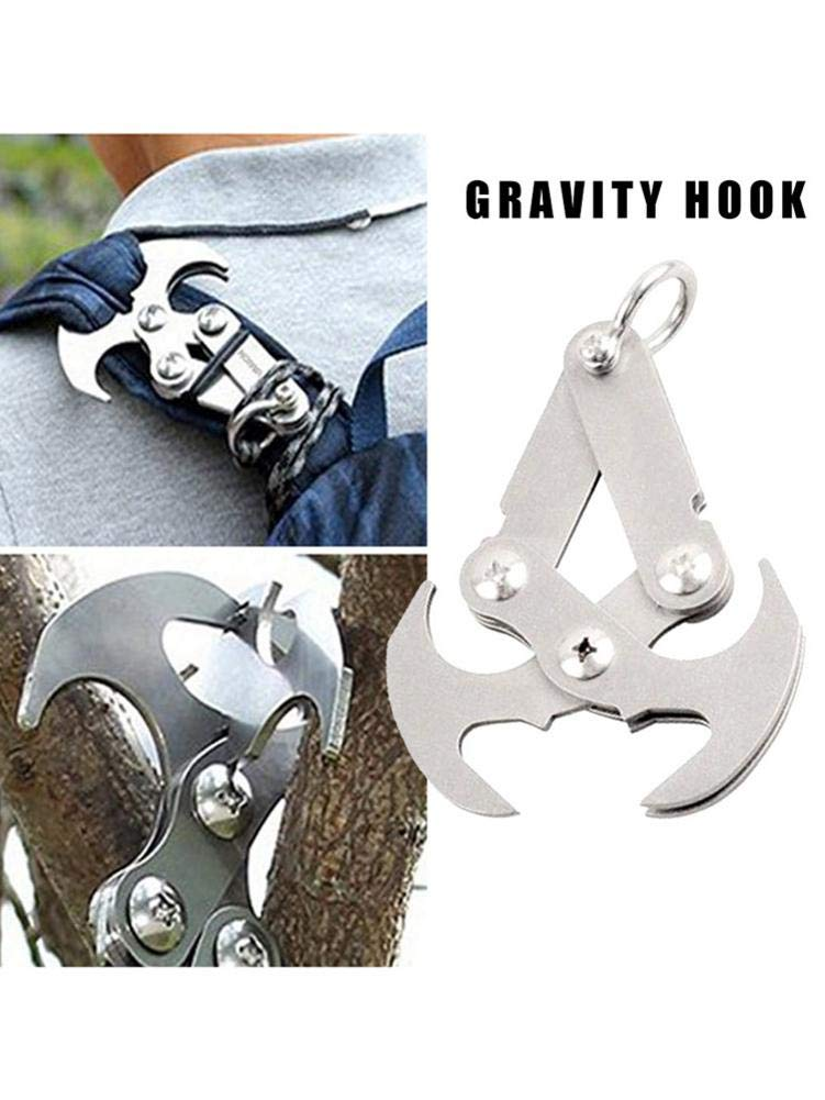 Gravity Hook Stainless Steel Grappling Hook Multifunctional Survival Climbing Claw Carabiner Climbing Equipment Climbing Rope Survival Carabiner for Outdoor Life