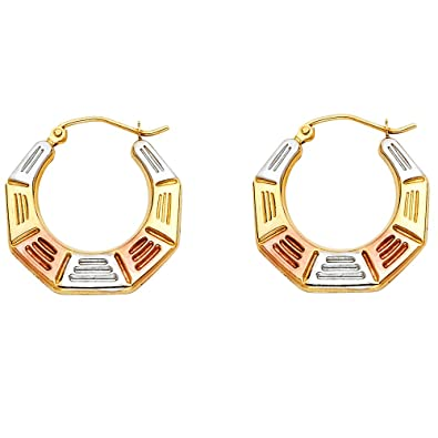 14k Tri Color Gold Line Pattern Fancy Hoop Earrings 21 X 22mm