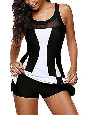 d453ae69ab87e Bong Buy Women One Piece Swimdress Tummy Control Swim Mesh Dress Swimwear  Slimming Black Skirt Swimsuits Bathing Suit Dress at Amazon Women's  Clothing store ...