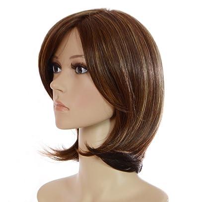 Peluca de gama alta hecha de monofilamentos en color marrón castaño, media melena con estilo