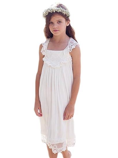cb26eec239d Veilace Chiffon Tea Length Boho Beach Country Flower Girl Dress For Weddings  Square Lace Girls Dress at Amazon Women s Clothing store