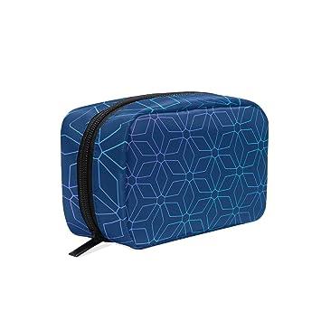 Amazon Com Blue Abstract Geometric Pattern Makeup Bag