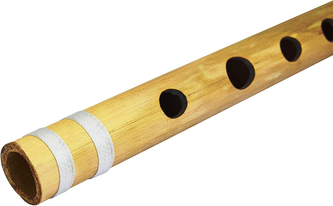 Unique Birthday Gift Ideas 14 Inch Authentic Indian Wooden Bamboo Flute in B Key Fipple Woodwind Musical Instrument Recorder Traditional Bansuri Hand Crafted Novelty Gifts Men Women Kids
