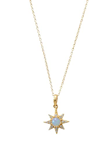 1e2ec2b21d1eb Amazon.com: Synthetic Opal North Star Necklace with Cubic Zirconia ...