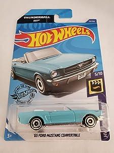 Hot Wheels 2020 HW Screen Time James Bond Thunderball 007 '65 Ford Mustang Convertible 59/250, Light Blue