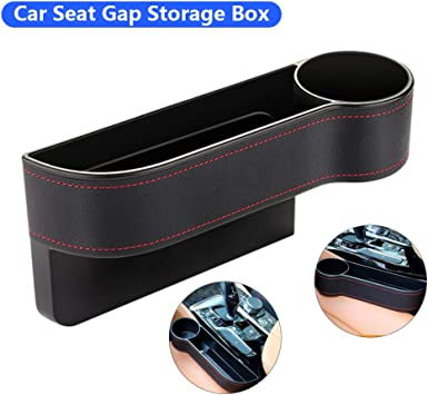 Car Seat Leather Storage Box Console Side Pocket Cup Rack Tidy Organiser Holder