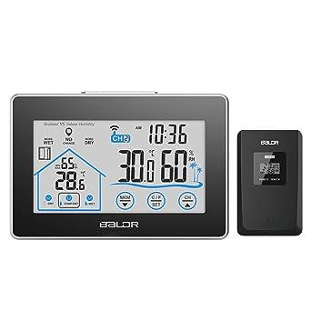 Estación meteorológica inalámbrica Digital Touch higrómetro medidor de humedad sensor temperatura termómetro interior exterior reloj de